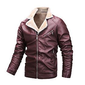 Men's Jacket Regular Solid Colored Daily Black Wine M L XL