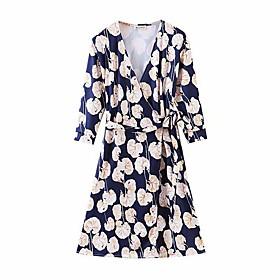 Women's A-Line Dress Knee Length Dress - 3/4 Length Sleeve Floral Summer Sexy 2020 Navy Blue S M L