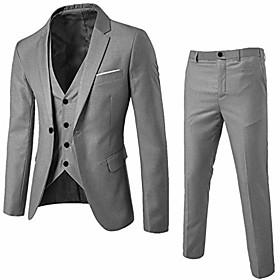 butamp; #39;s 3 pieces suit slim fit wedding suit buttons lapel blazer tux vest amp; trousers business party set by 2dxuixsh gray