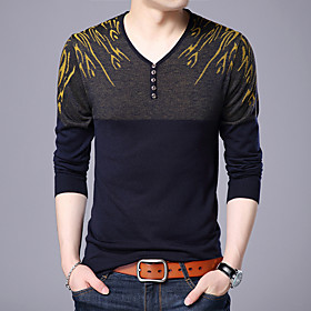 Men's Wedding Christmas Deep V Glitter Embroidery Polka Dot Color Block Cardigan Pullover Sweater Wool Long Sleeve Sweater Cardigans V Neck Fall Winter Red Yel