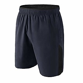 men's 7 workout gym shorts quick dry training athletic running shorts with zipper pockets (navy blue l)