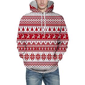 Men's Christmas Pullover Hoodie Sweatshirt Lines / Waves 3D Graphic Christmas Hoodies Sweatshirts  Red