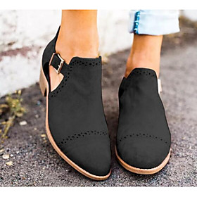 Women's Heels Chunky Heel Pointed Toe Casual Basic Daily Solid Colored PU Walking Shoes White / Black / Brown