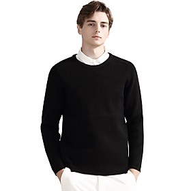 Men's Basic Knitted Solid Color Pullover Acrylic Fibers Long Sleeve Sweater Cardigans Crew Neck Fall Winter Black Beige