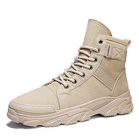Men's Boots Casual Daily Outdoor Walking Shoes Faux Leather Wear Proof Booties / Ankle Boots Black / Khaki / Beige Fall / Winter