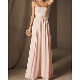 A-Line Minimalist Sexy Engagement Formal Evening Dress Strapless Sleeveless Floor Length Chiffon with Pleats 2020