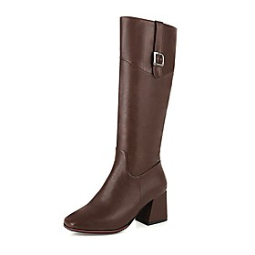 Women's Boots Block Heel Square Toe Preppy Minimalism Daily Party  Evening Solid Colored PU Knee High Boots Almond / Black / Brown