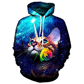 men women galaxy cat graphic hoodie sweatshirts pullover jacket coat for casual running sports blue