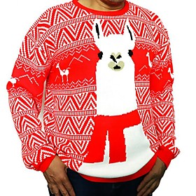 Men's Christmas Animal Pullover Acrylic Fibers Long Sleeve Sweater Cardigans Crew Neck Winter Red