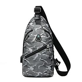 Men's Bags Oxford Cloth Sling Shoulder Bag Pattern / Print Zipper for Daily / Outdoor Black / Blue / Gray