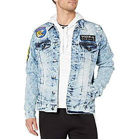 butamp; #39;s aian utility premium fashion denim jacket, light sand blue king tiger, medium