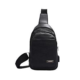 Men's Bags PU Leather / Polyester Sling Shoulder Bag Pattern / Print Zipper for Daily / Outdoor Dark Brown / Black / Brown