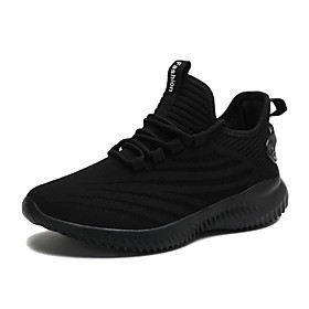 Women's Trainers / Athletic Shoes Wedge Heel Round Toe Sporty Casual Daily Solid Colored Tissage Volant Walking Shoes White / Black