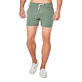 men's joggers sweat gym running workout athletic shorts, green, waist:32-34