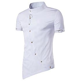 men's casual irregular hem slim fit button down dress shirt, hopm003-white, medium