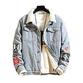 butamp; #39;s denim hoodie jacket casual slim fit button down jeans coat amp; #40;m, thicken blueamp; #41;