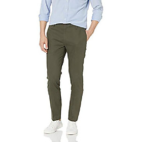 amazon brand - men's skinny-fit wrinkle free dress chino pant, olive, 32w x 30l