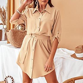 Women's A-Line Dress Knee Length Dress - Half Sleeve Solid Color Lace up Fall Winter Shirt Collar Casual Slim 2020 Khaki S M L