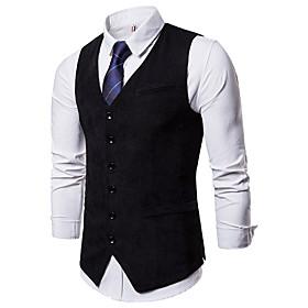 Men's Vest Solid Color Office / Business Navy Black khaki S M L