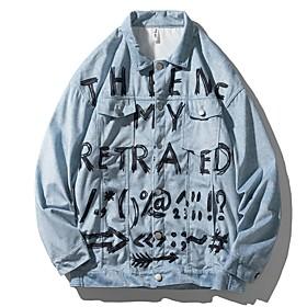 Men's Buttoned Front Jacket Regular Geometric Daily Light Blue M L XL