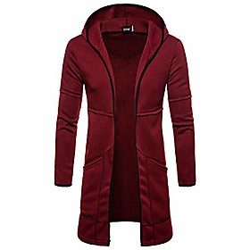 men's hoodies, long trench coat casual cardigan jacket outwear autumn (wine red,xl)
