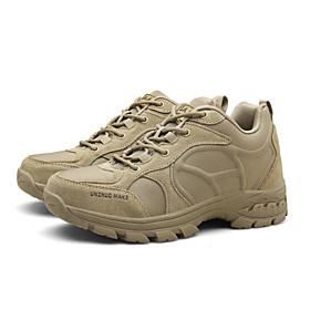 Men's Boots Sporty Athletic Daily Hiking Shoes / Walking Shoes Leather Breathable Non-slipping Wear Proof Black / Beige Fall / Winter