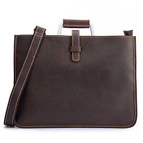 Men's Bags Cowhide Briefcase Zipper for Office  Career Dark Coffee