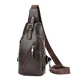 Men's Bags PU Leather Sling Shoulder Bag Zipper for Daily / Outdoor Black / Brown