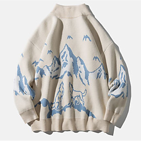 Men's Abstract Pullover Long Sleeve Sweater Cardigans Crew Neck Fall Winter White Black