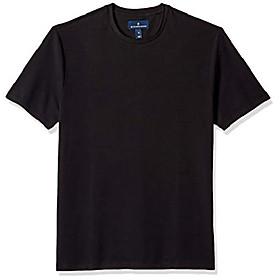 buttoned down men's short-sleeve crew neck supima cotton stretch t-shirt, black, 4xl
