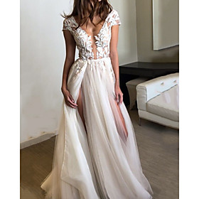 A-Line Wedding Dresses V Neck Floor Length Lace Tulle Short Sleeve Beach with Split Front 2020
