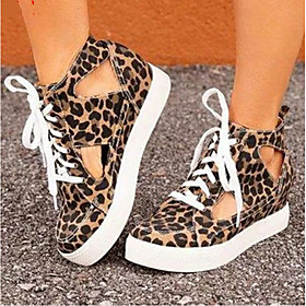Women's Heels Flat Heel Round Toe Basic Daily Solid Colored Canvas Leopard / White / Yellow