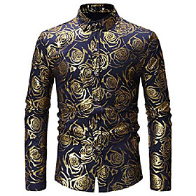 fashion men's black/gold shirts shiny rose printed slim fit button down dress shirt for 70s disco/party m304-navy-xl