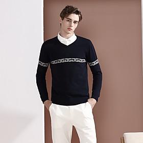 Men's Basic Knitted Color Block Pullover Long Sleeve Sweater Cardigans V Neck Fall Winter Black Navy Blue Gray