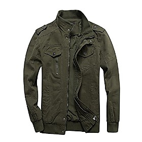men's casual long sleeve full zip jacket with shoulder straps (xxl, 7-army green)
