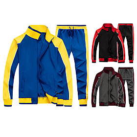 Men's 2-Piece Patchwork Tracksuit Sweatsuit Streetwear Casual Long Sleeve Front Zipper Thermal / Warm Windproof Soft Fitness Running Jogging Sportswear Track J