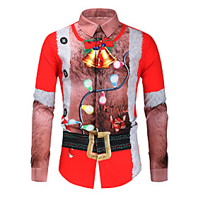 Men's Christmas Shirt Graphic Long Sleeve Tops Button Down Collar Red