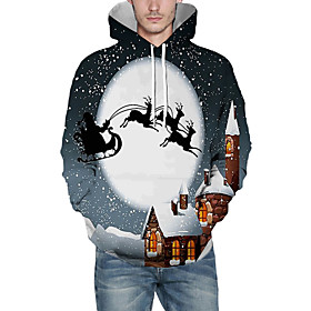 Men's Christmas Pullover Hoodie Sweatshirt 3D Graphic Reindeer Christmas Hoodies Sweatshirts  Gray