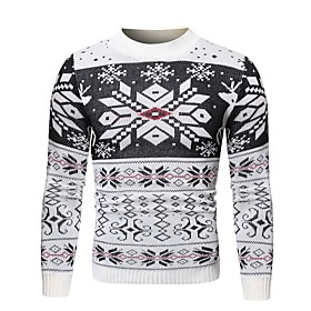 Men's Christmas Knitted Geometric Pullover Long Sleeve Sweater Cardigans Crew Neck Black Red