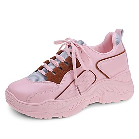 Women's Trainers / Athletic Shoes Flat Heel Round Toe Sporty Daily Solid Colored PU White / Black / Pink