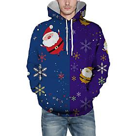 Men's Christmas Pullover Hoodie Sweatshirt Print 3D Graphic Christmas Hoodies Sweatshirts  Blue