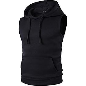 men's casual sleeveless hoodie tank tops hooded vest pocket t-shirt sports jza002 black m