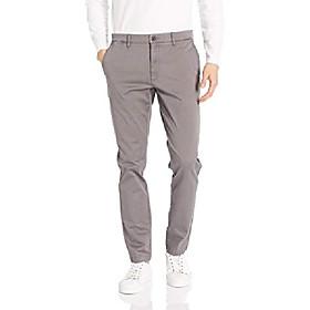 amazon brand - menamp; #39;s skinny-fit washed comfort stretch chino pant, grey 42w x 34l