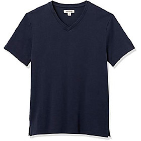 amazon brand - men's heavyweight oversized short-sleeve v-neck t-shirt, navy, x-large