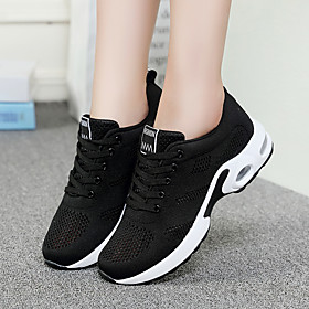 Women's Trainers / Athletic Shoes Wedge Heel Round Toe Casual Basic Daily Mesh Walking Shoes Black / Red / White / Black
