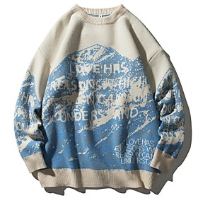 Men's Abstract Pullover Long Sleeve Sweater Cardigans Crew Neck Fall Winter Blue
