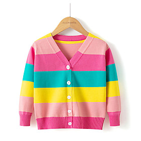 girls cardigan rainbow sweater for girls long sleeve uniforms round-neck colorful knit sweater