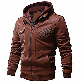 men's vintage motorcycle faux leather jacket outwear winter jackets with removable hood