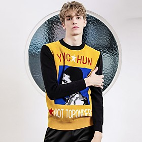 Men's Basic Knitted Color Block Pullover Long Sleeve Sweater Cardigans Crew Neck Fall Winter Yellow