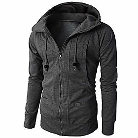 clearance  men's full-zip zip hoodie sweatshirt sports pullover hooded coat(dark gray,us size l = tag xl)